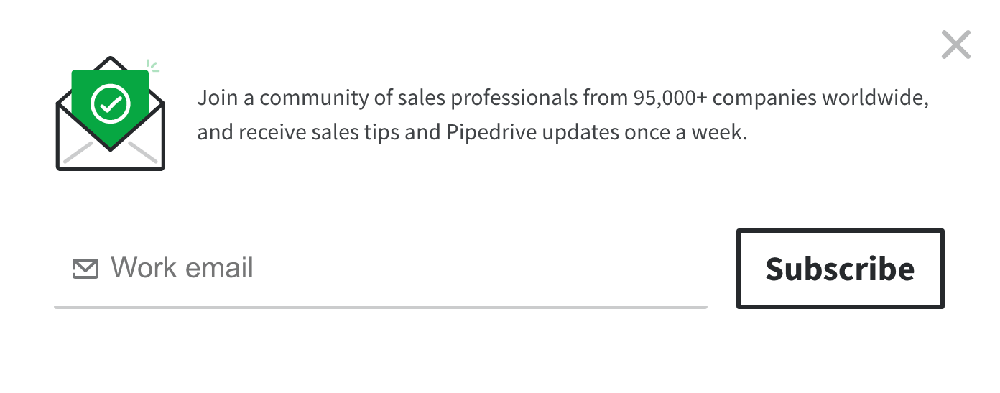 Popup design examples: Pipedrive