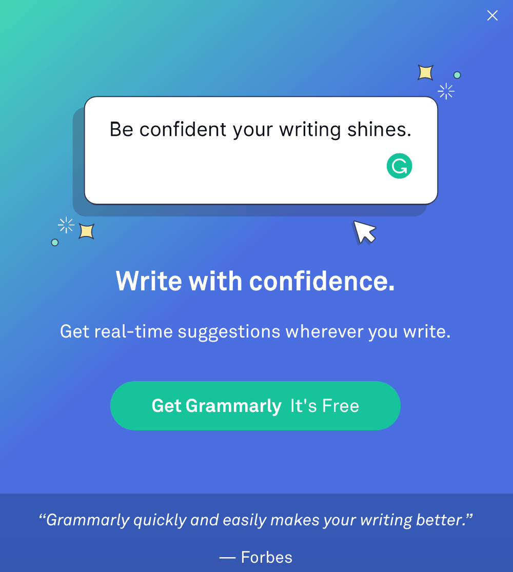 Grammarly popup example