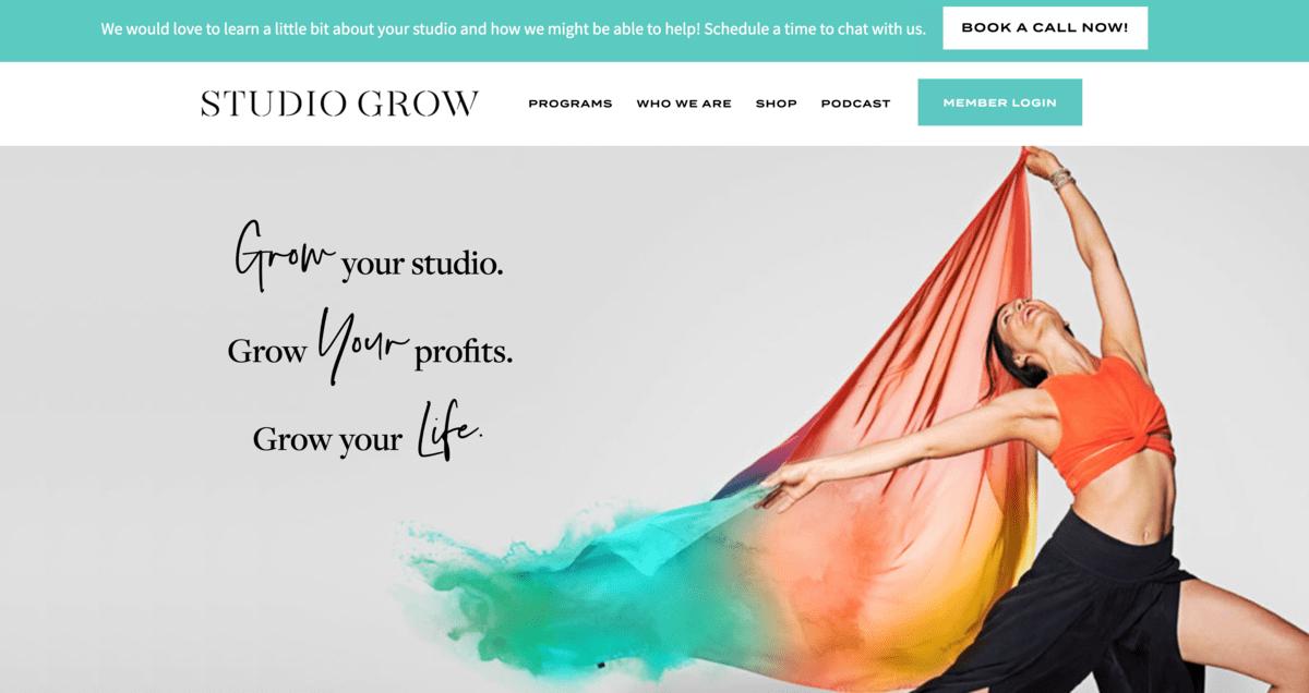 Studio Grow sticky bar example