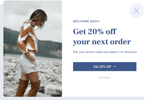 Example of personalized popup
