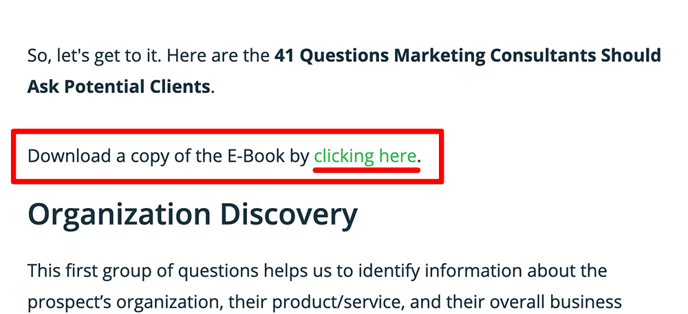 In post landing page links