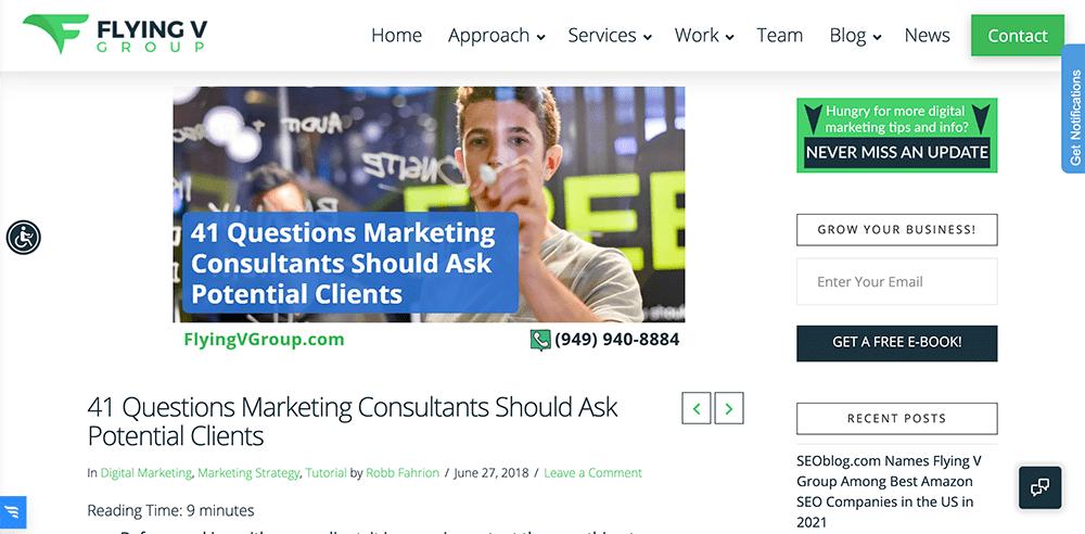 Blog post headline screenshot: 41 Questions Marketing Consultants Should Ask Potential Clients