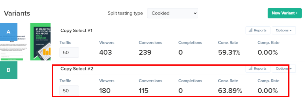 Landing page version 2 results