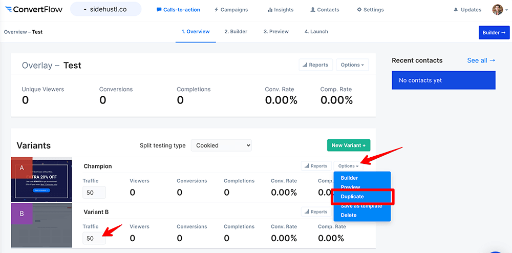 Split testing in ConvertFlow screenshot