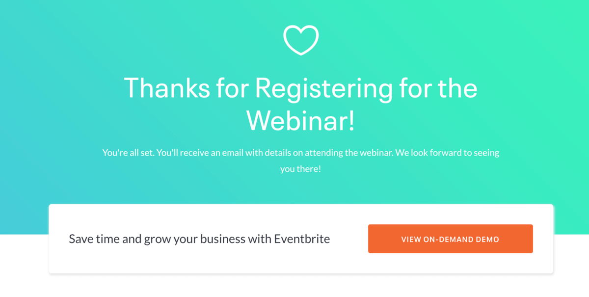 Eventbrite thank you page example