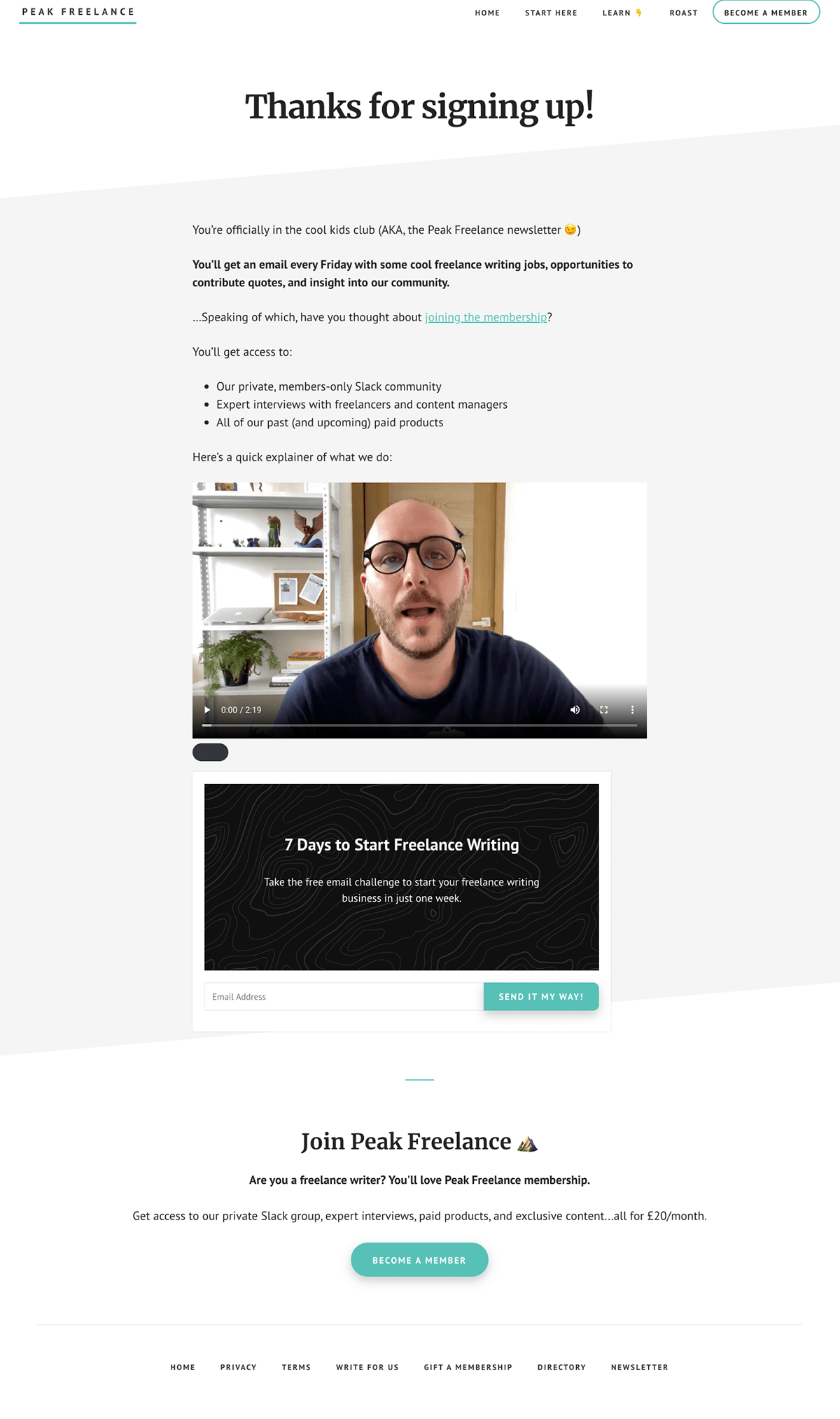Peak Freelance thank you page example