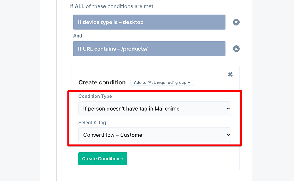 Advanced targeting conditions example