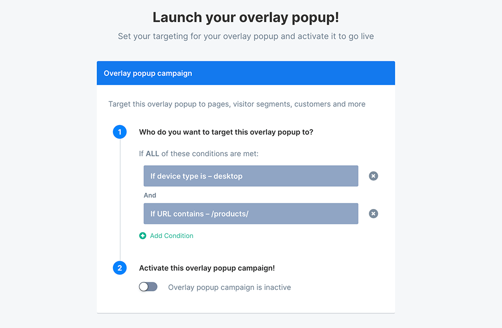 Basic targeting conditions example