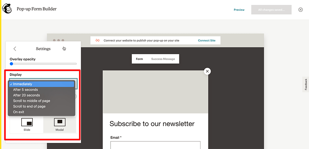 Settings in MailChimp popup builder
