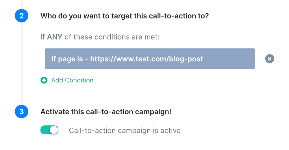 Activate button CTA with page URL targeting