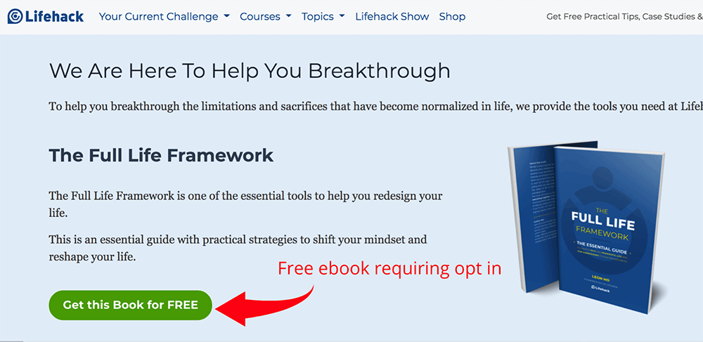 Full Life Framework ebook optin page