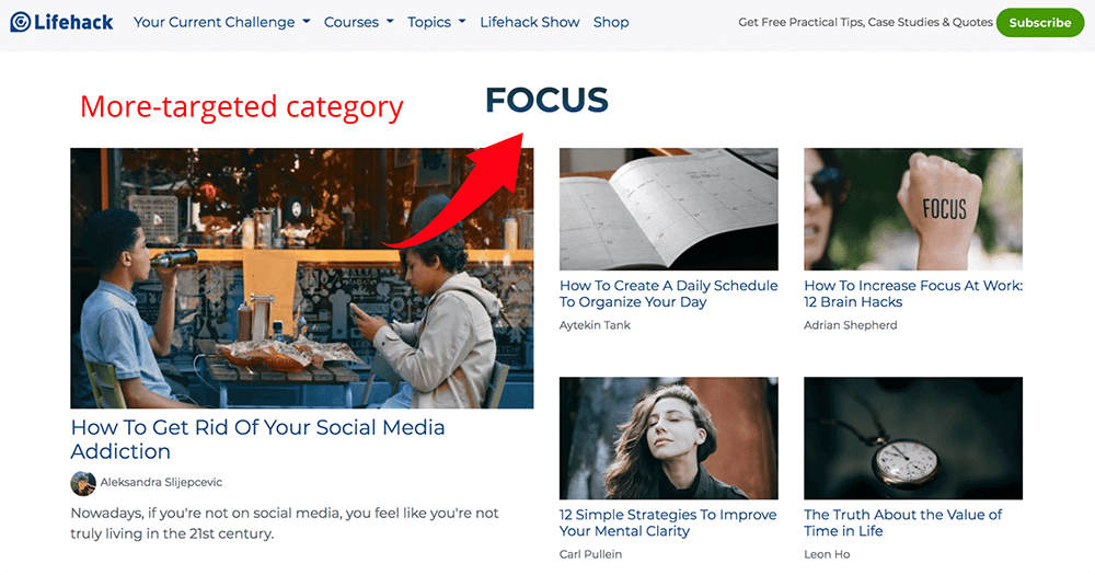Focus WordPress category