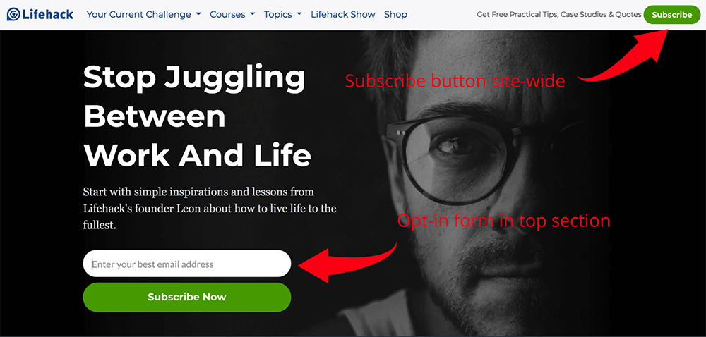 Subscribe button and optin form