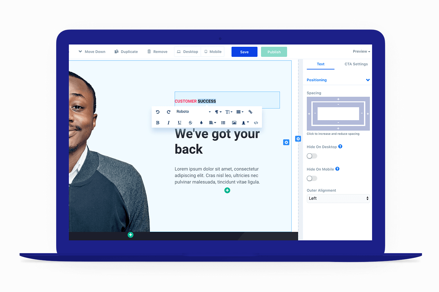 Control your fonts and colors in landing page builder