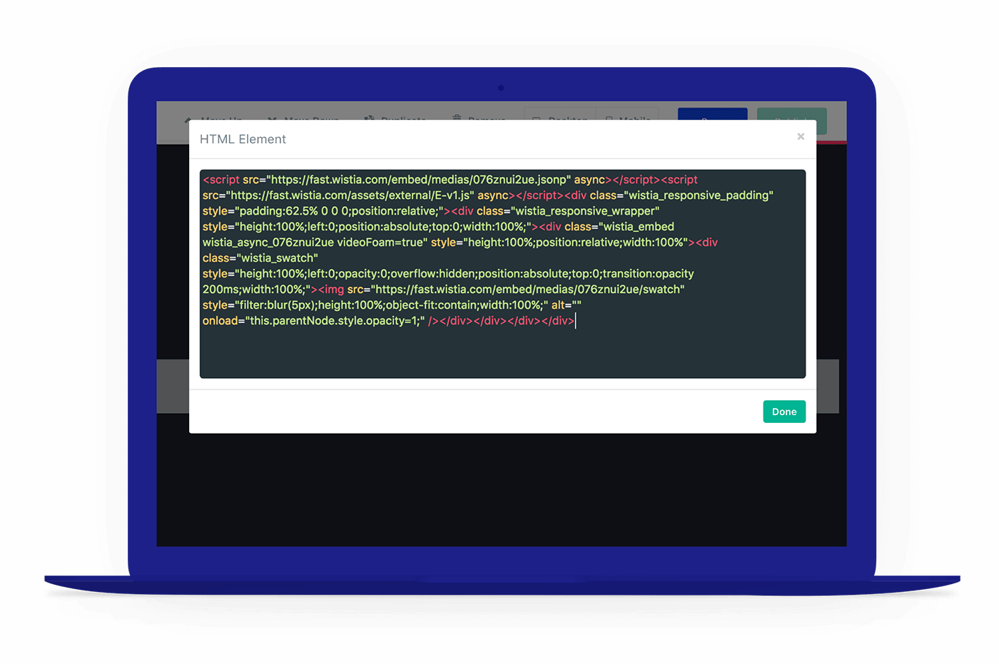 Add custom code in landing pages