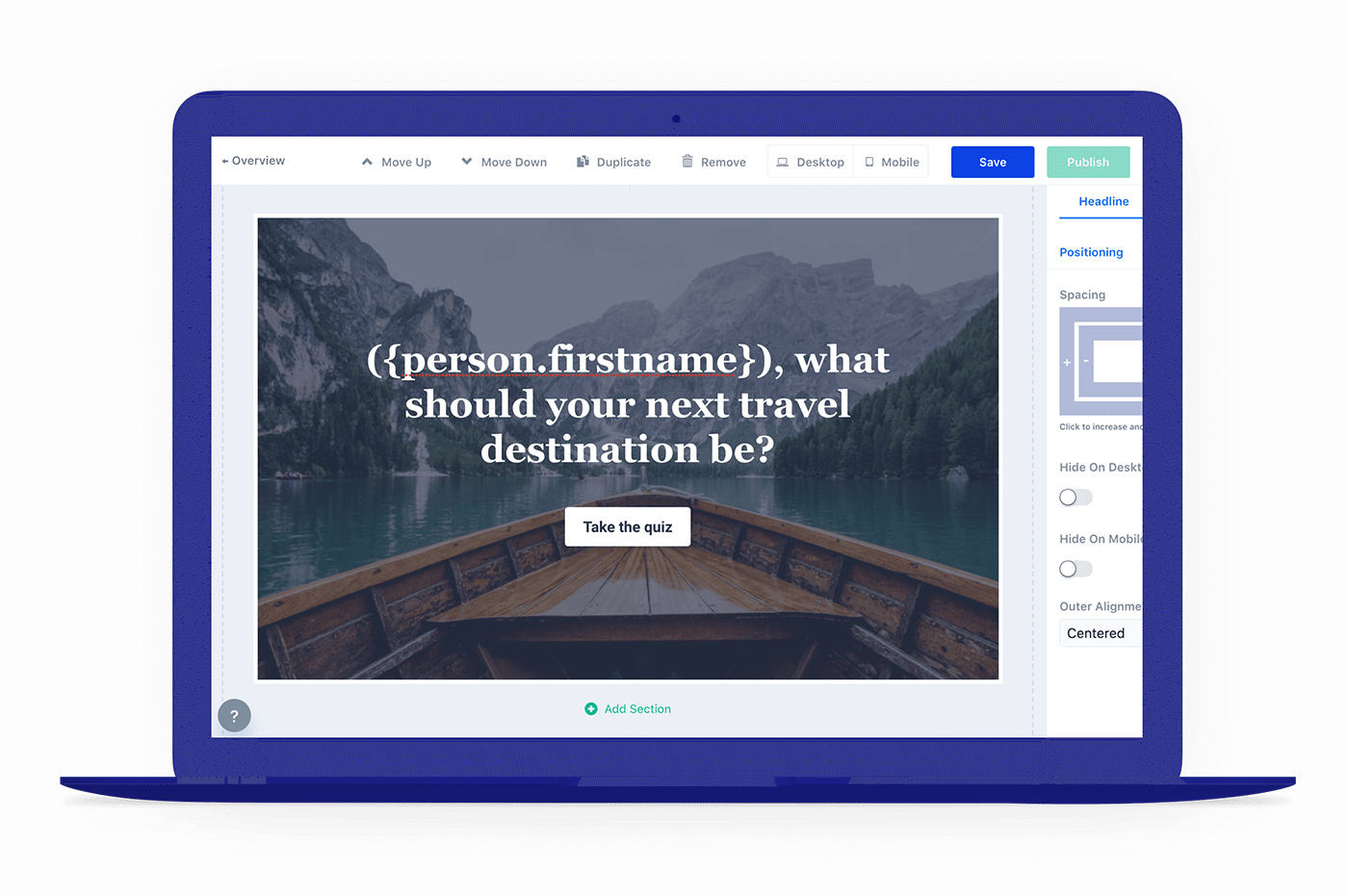 Use merge tags and team profiles to personalize your lead quizzes