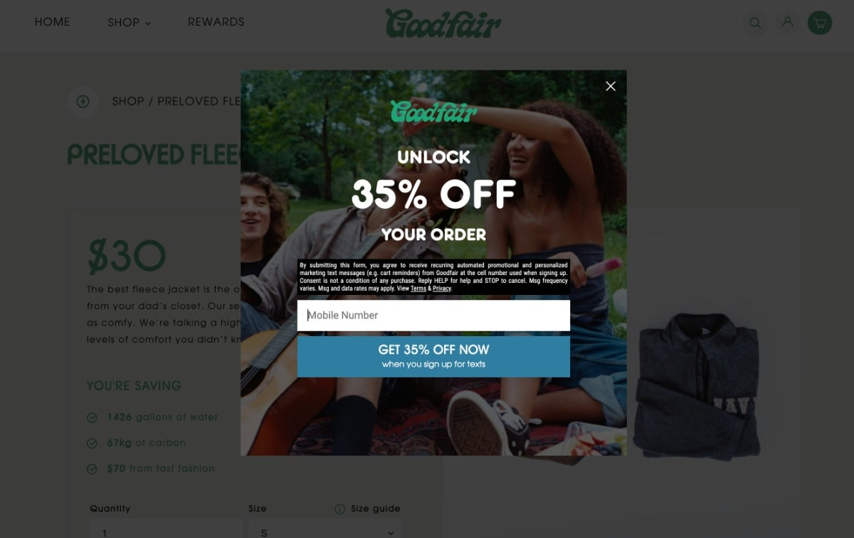 Goodfair SMS discount popup