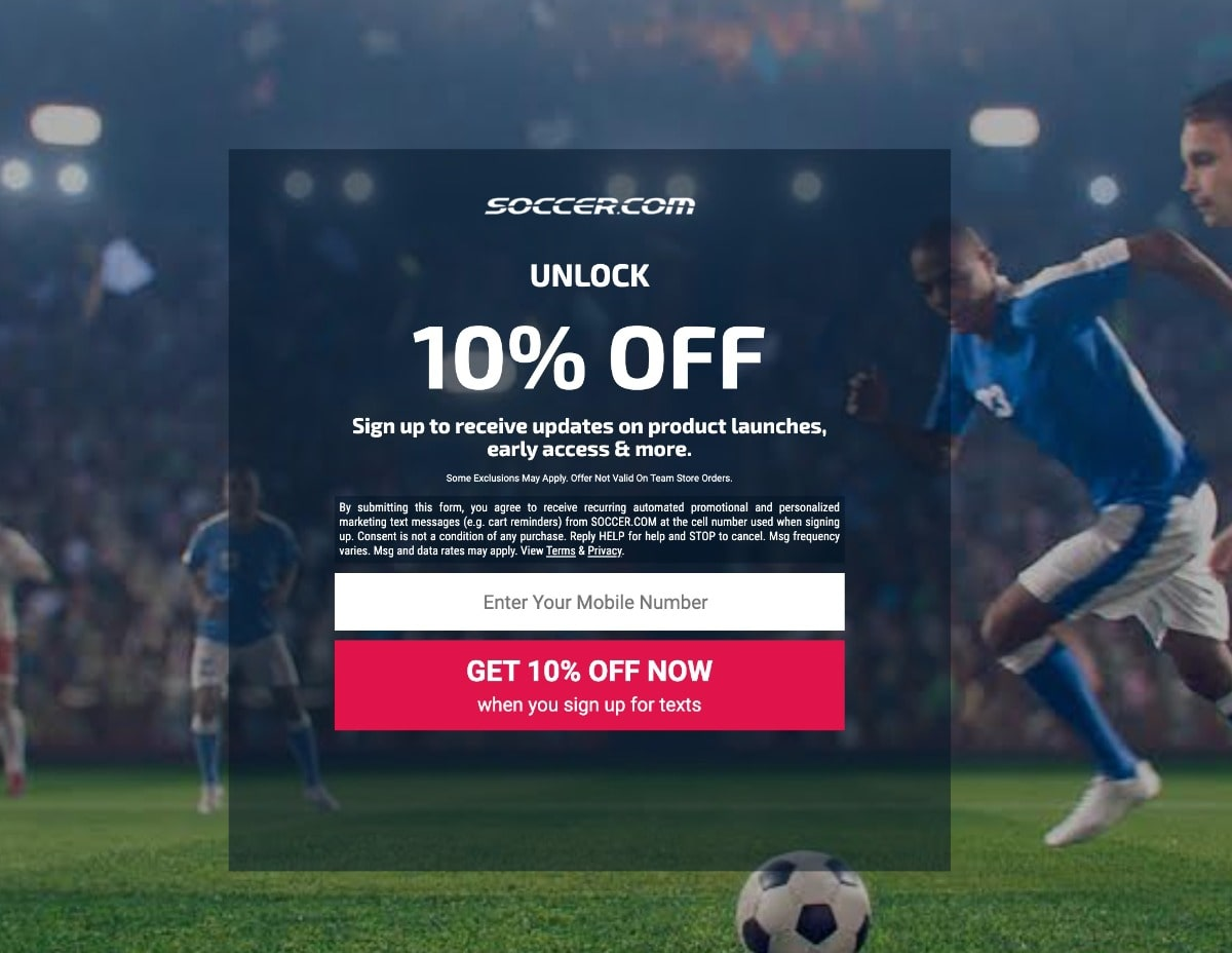 Soccer.com SMS popup offer