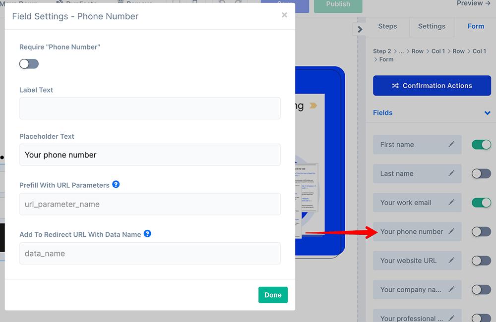 Add phone number field in ConvertFlow builder