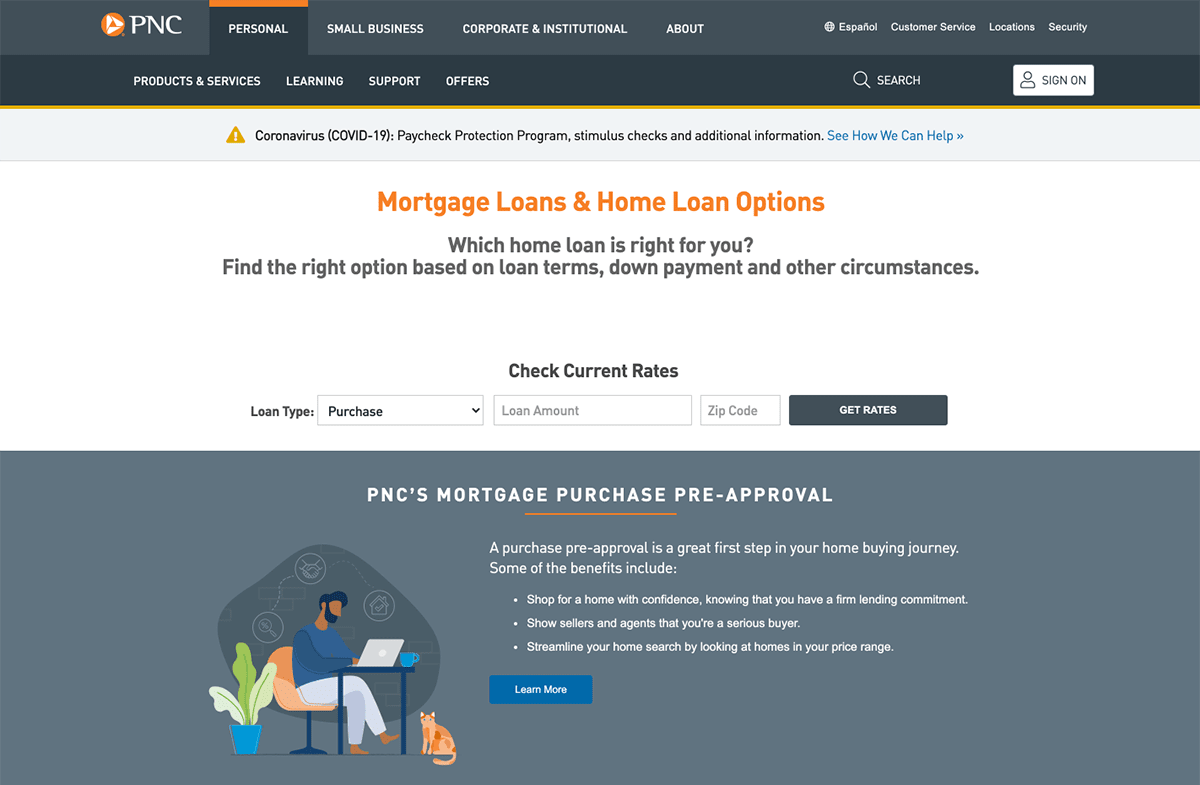 PNC mortgage landing page example