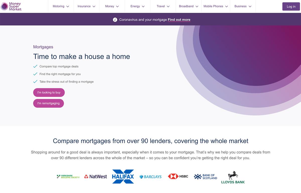 MoneySuperMarket mortgage landing page example