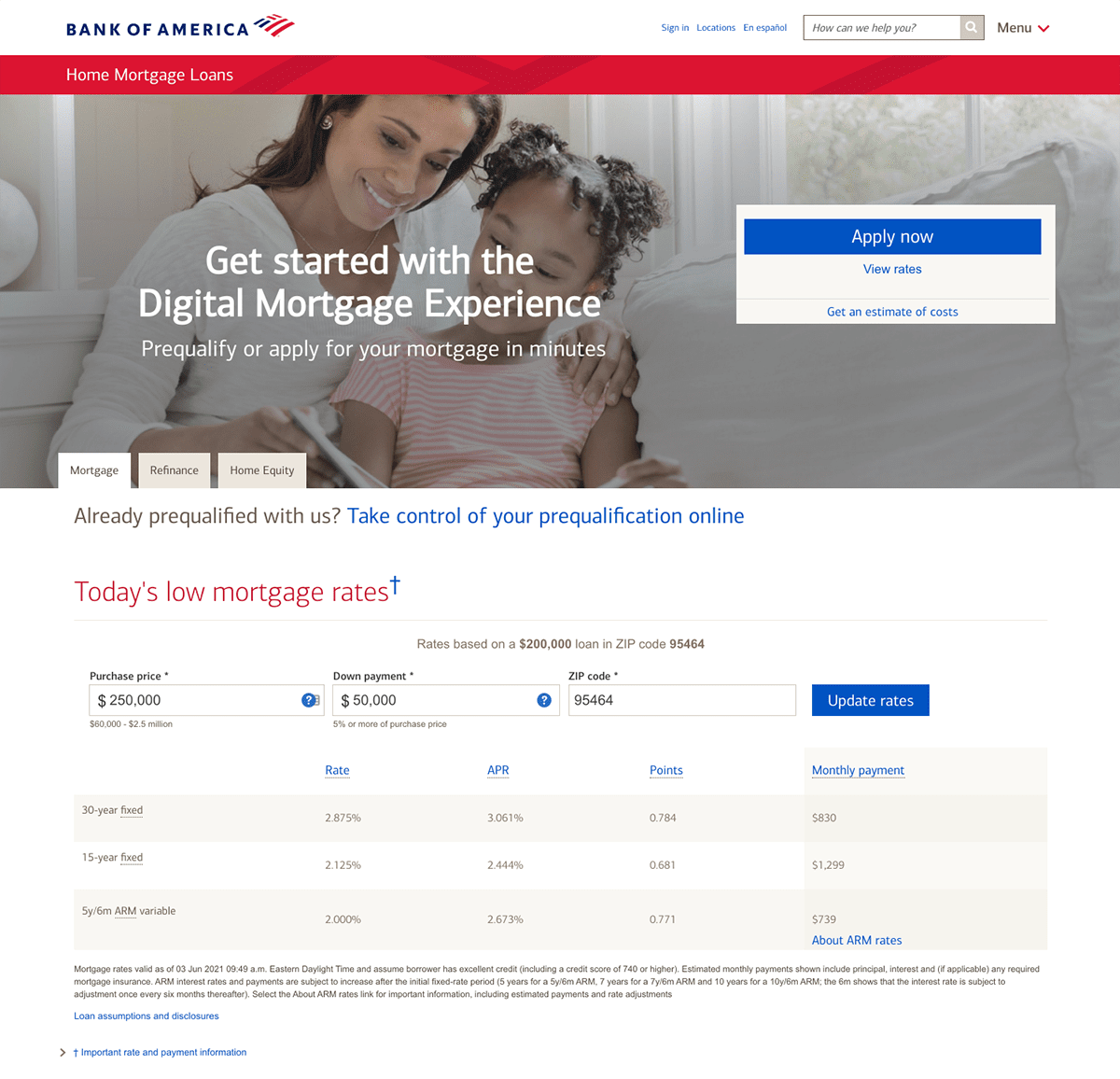 Bank of America mortgage landing page example