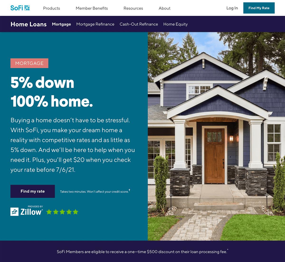 SoFi mortgage landing page example