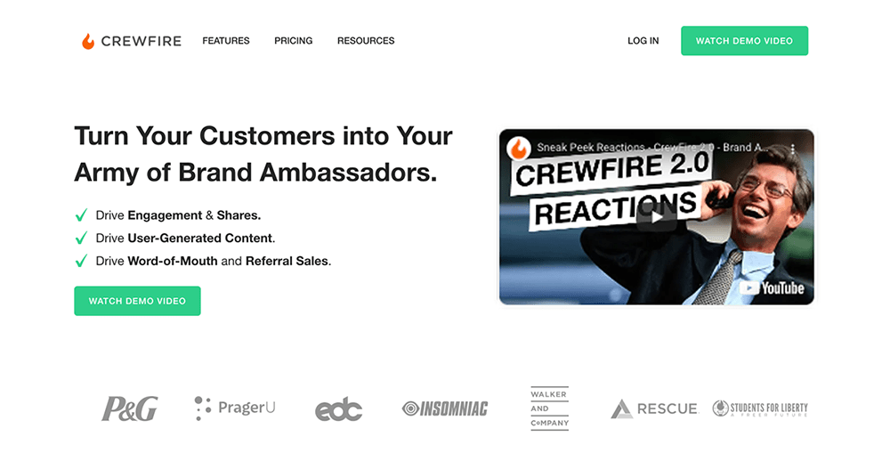 Conversion copywriting examples: Crewfire home page hero