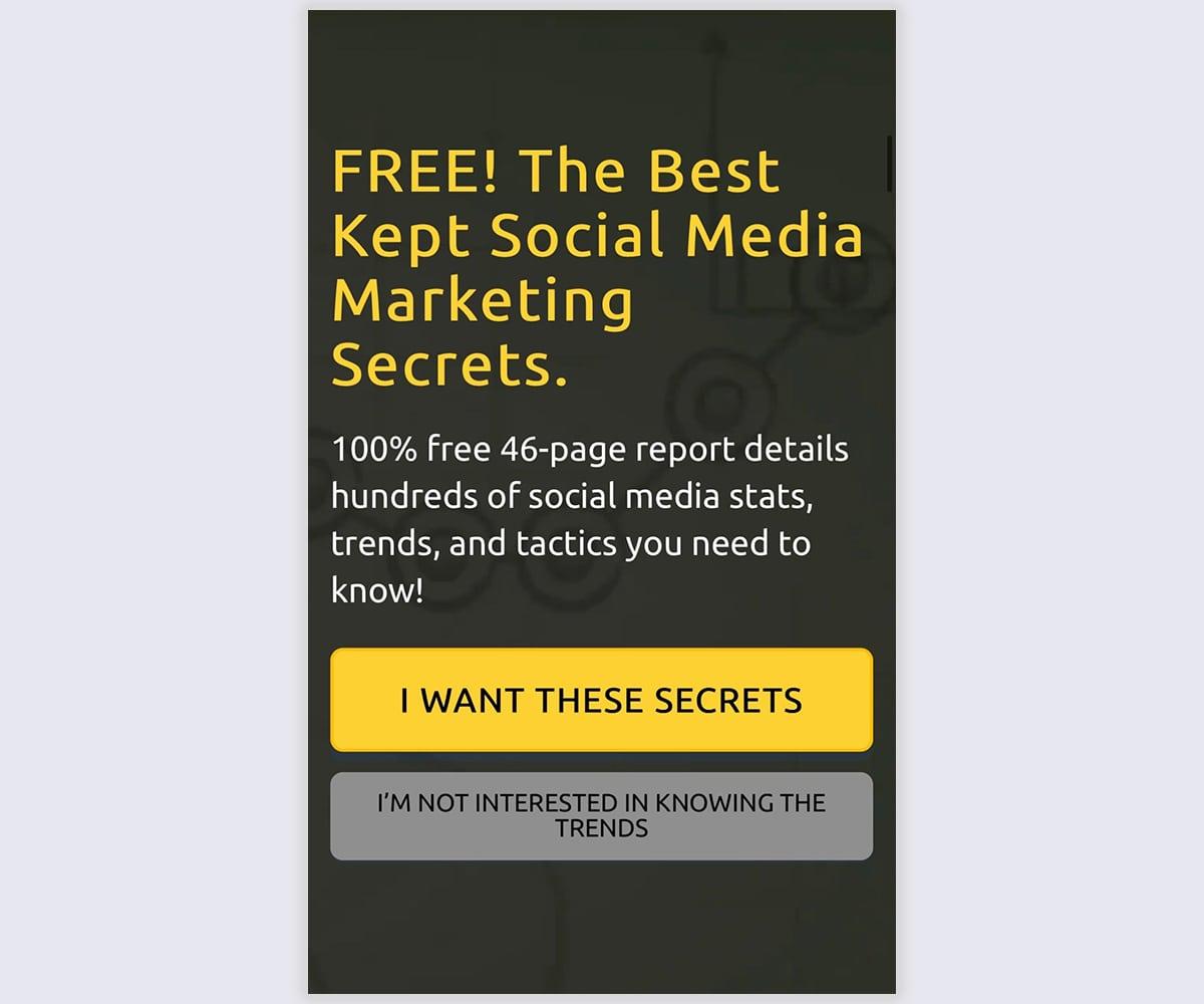 Mobile Popup Examples: Social Media Examiner