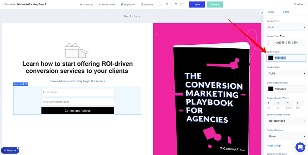 Edit background colors in ConvertFlow's landing page builder
