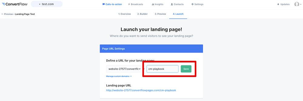 Change landing page URL