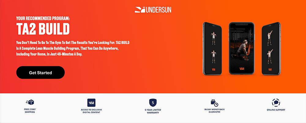 Undersun landing page example