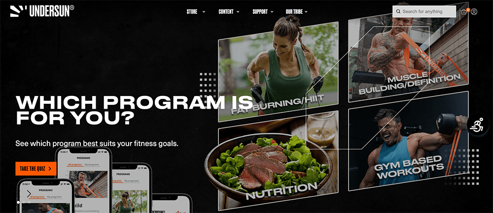 Undersun Fitness home page