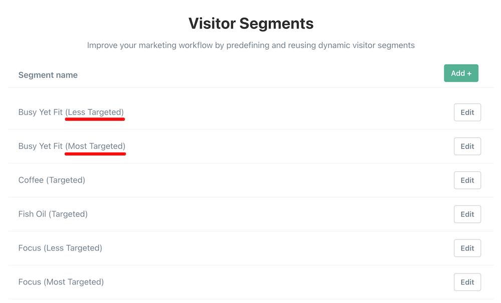Lifehack intent based visitor segments