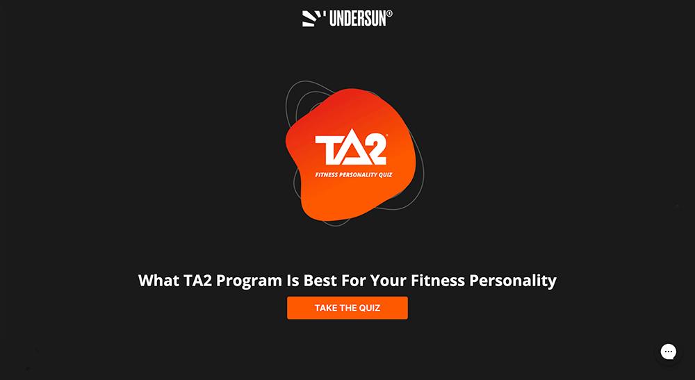 Undersun Fitness quiz page