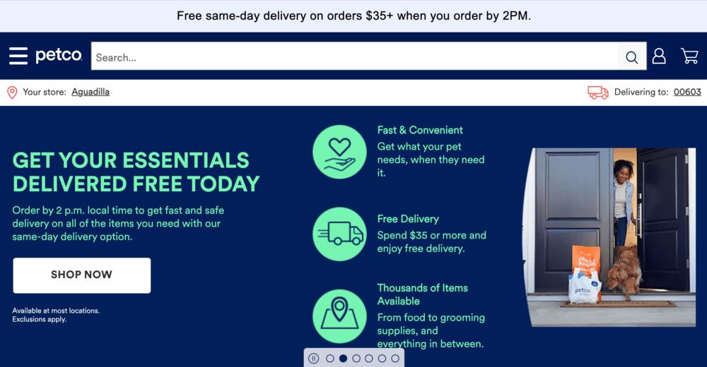 Free Shipping Bar Examples: Petco