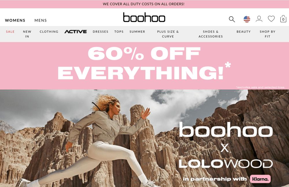 Free Shipping Bar Examples: Boohoo