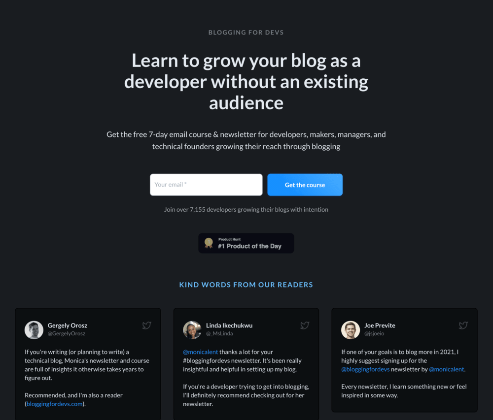 Opt-in page examples: Blogging For Devs