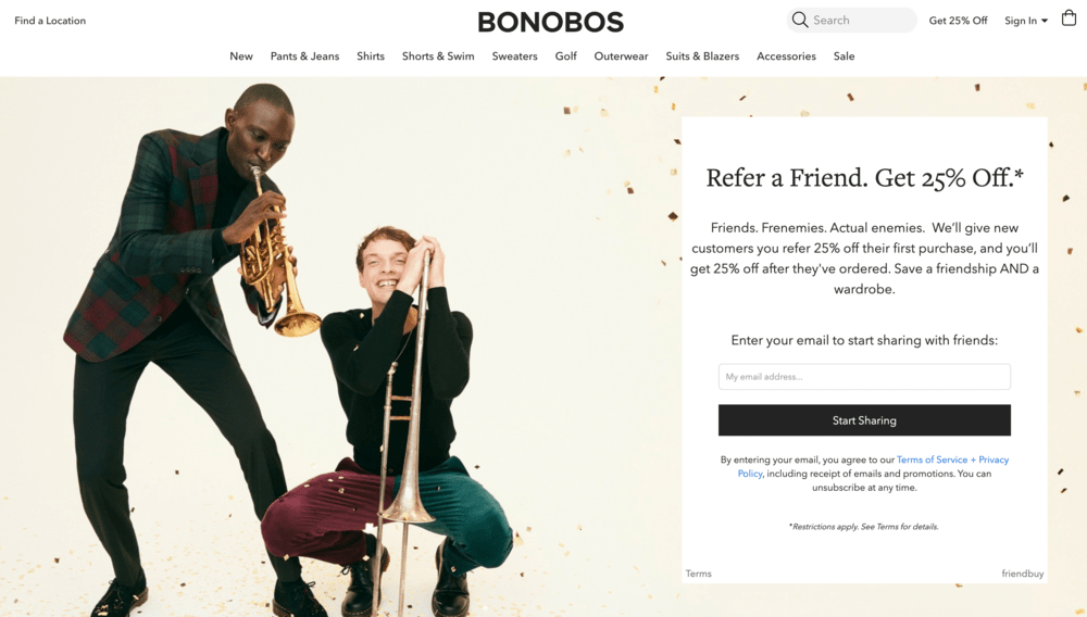 Opt-in page examples: Bonobos