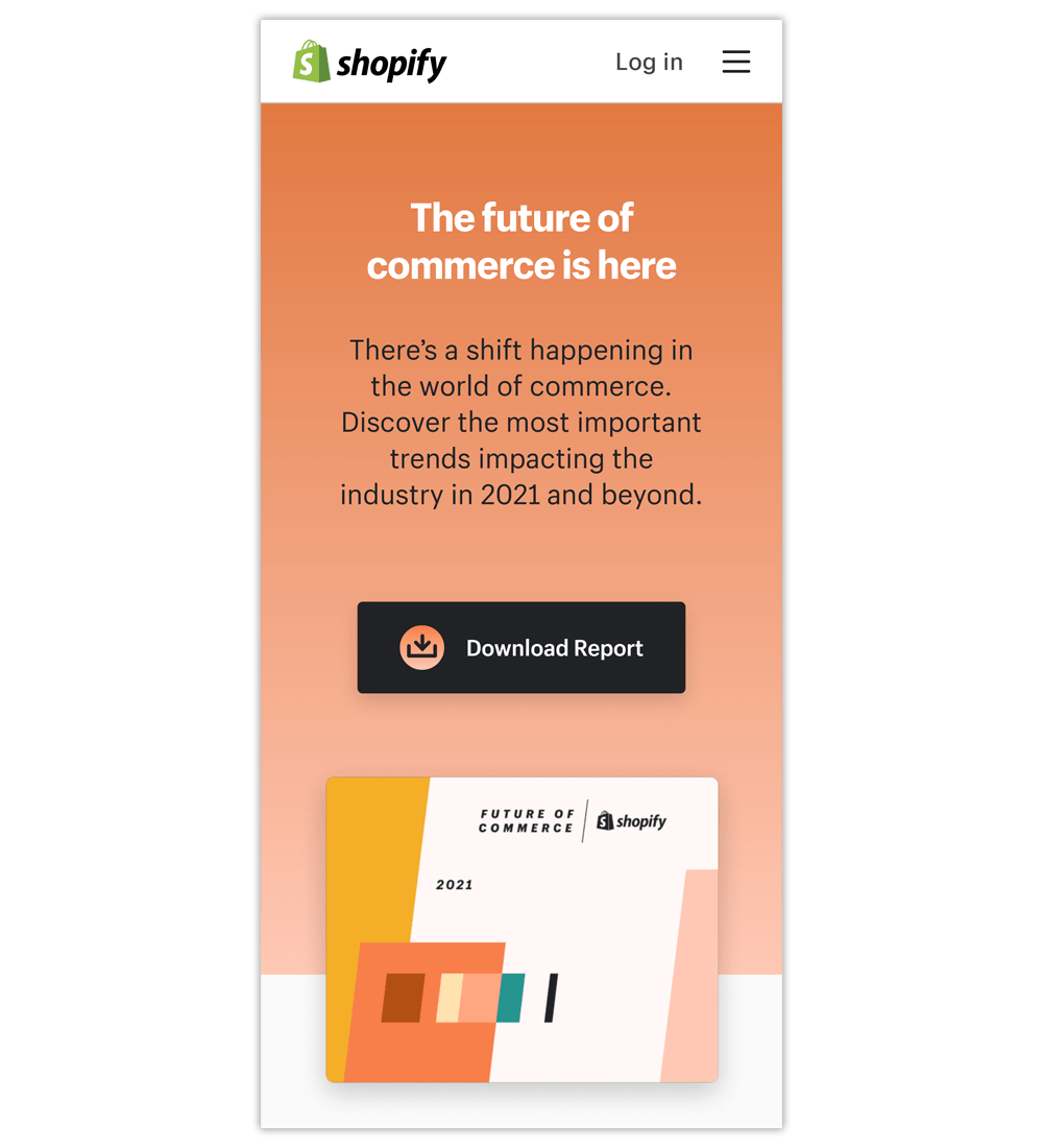 Mobile landing page examples: Shopify