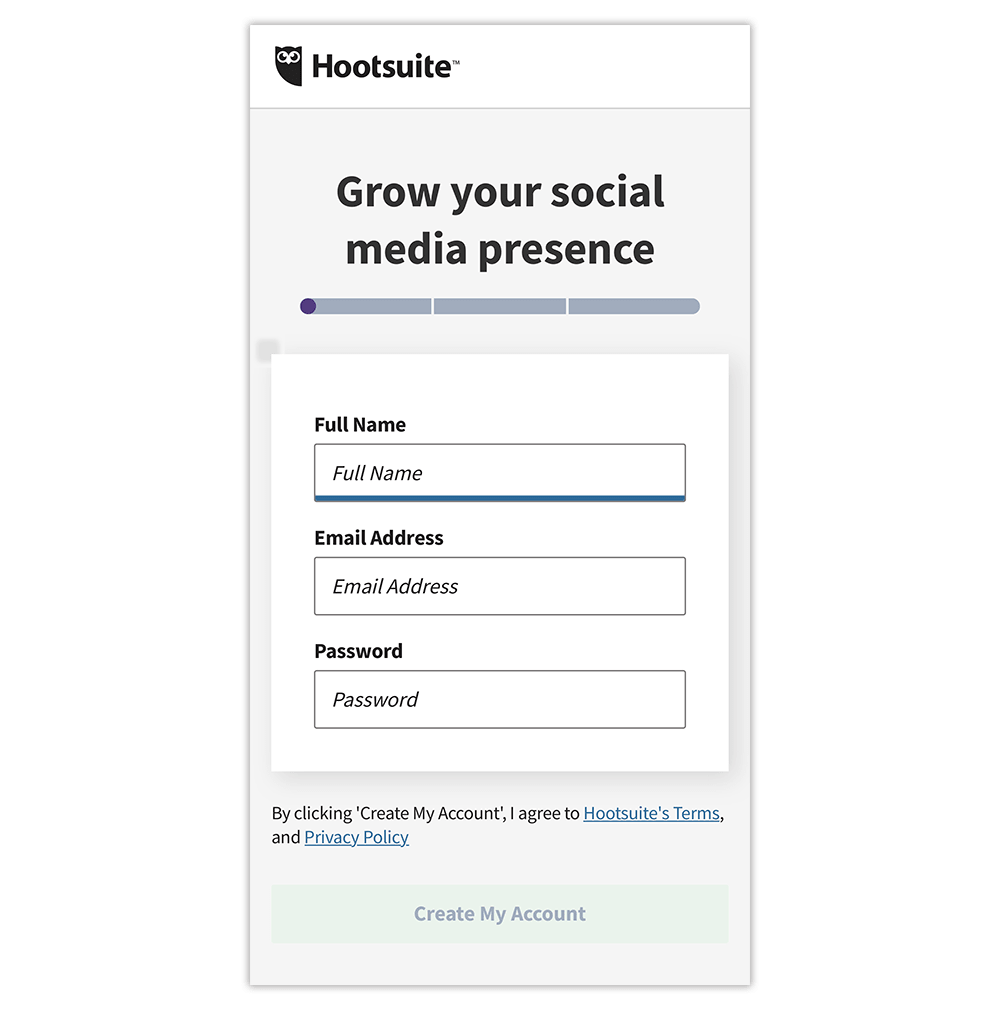 Mobile landing page examples: Hootsuite