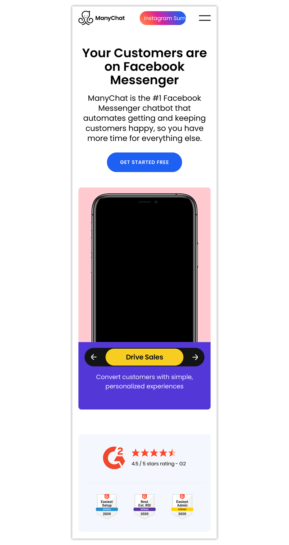Mobile landing page examples: ManyChat