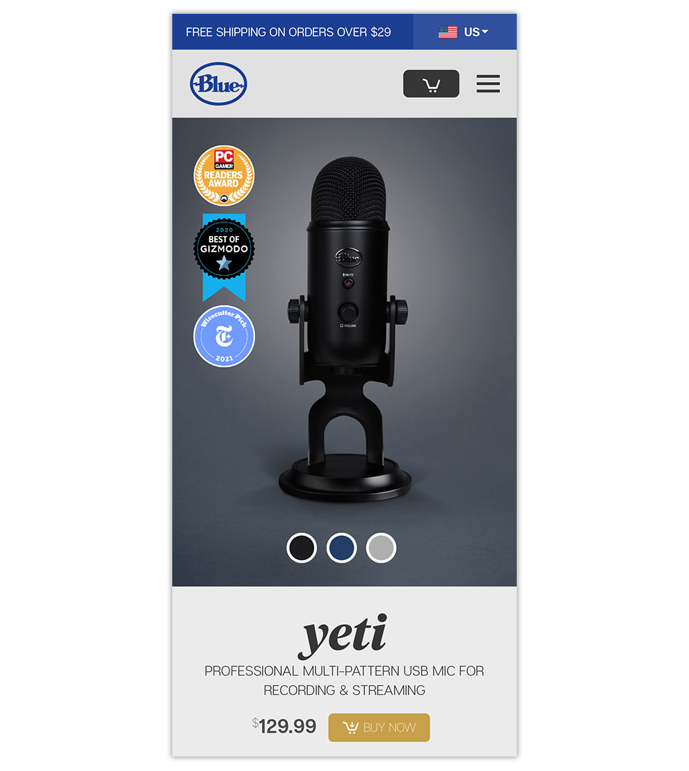 Mobile landing page examples: Blue Microphone