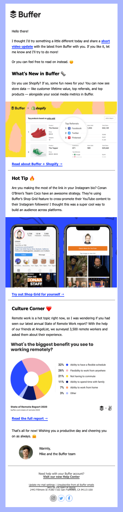 Buffer product email example