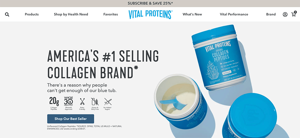 Sticky Bar Examples: Vital Proteins