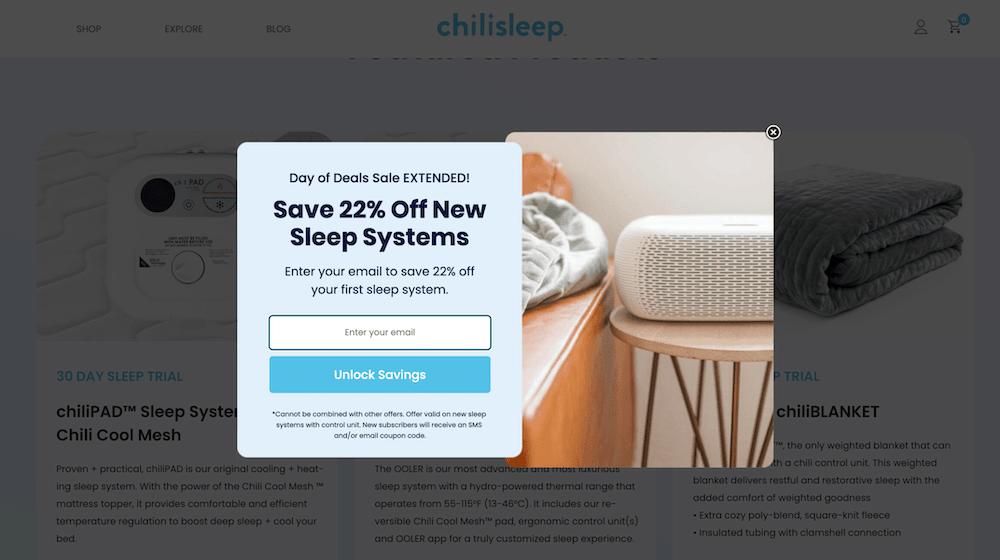 Shopify Popups: ChiliSleep