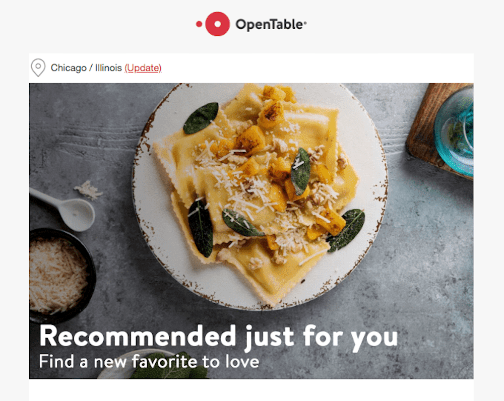 OpenTable cross-sell email