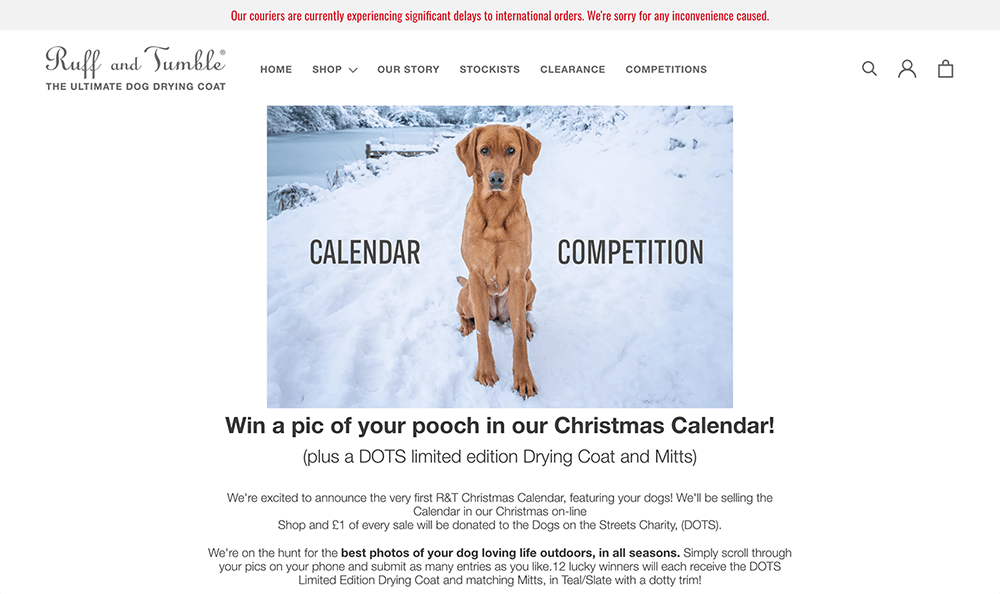 Contest Landing Page Examples: Ruff and Tumble