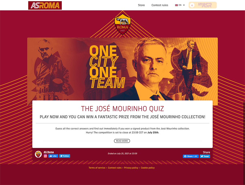 Contest Landing Page Examples: AS Roma