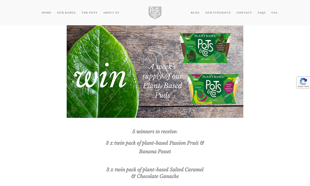 Contest Landing Page Examples: Pots and Co